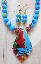 "AQUA MILLEFIORE necklace GLASS PENDANT earrings 17 1/2"""