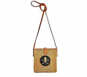 Lisi Lerch Square Straw Crossbody Bag- Addison Handwoven Ata Grass with Skull