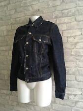 Men's Levi's coupe slim effet vieilli Raw Bleu Foncé Veste en jean. Taille S