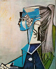 Picasso Woman with ponytail canvas art card  ACEO