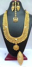 22K Gold Plated Indian Wedding 10'' Long Rani Haar Pakistani Necklace Earrings3