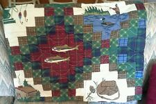 2 PILLOW SHAMS Fish QUILT cabin trout flyfishing boat Moose bird canoe boat Bear
