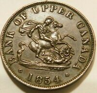 Canada: 1854  Bank of Upper Canada One  Penny Token Brown AU details 53-913