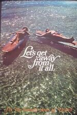 UNITED AIRLINES LET'S GET AWAY FROM IT ALL Vintage Travel poster 1968 25x40