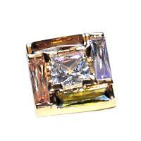 Pendentif moderne en plaqué or 18 carats zirconiums multicolores bijou