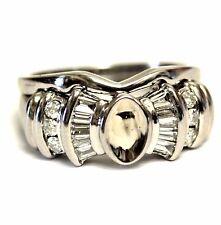 mount diamond engagement ring wedding band 8.0g 14k white gold .58ct Si2 H semi
