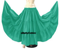 Details about  /TEAL 25 Yard 4 Tier Cotton Skirt Belly Dancing Flamenco Tribal Gypsy Skirt