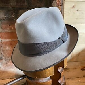 Vintage Lembert Grey Fedora Trilby Hat Fur Felt EU 59 UK 7 1/4 US 7 3/8