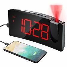 LED Wecker mit Projektion 5'' Zoll Anzeige 120° Projektor USB Digital Wecker