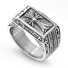 Mens Cross Ring Wholesale Polished Stainless Steel Band New USA 13mm Sizes 9-14