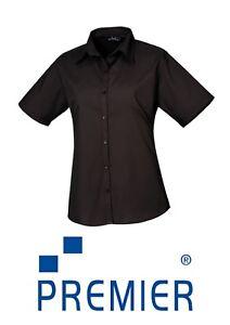 New Ladies Poplin Shirt Sleeve Black Blouse Work Shirt PR302 CLEARENCE