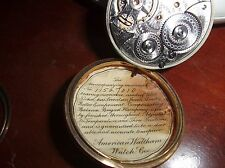 antique Waltham Pocket Watch 18s Model 1892