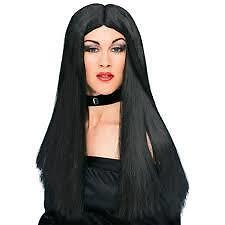 "Witch Wig - 24"" Long Black Fancy Dress Halloween Wig by Rubies DELUXE"
