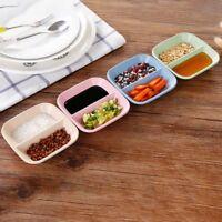 1/4PCS Wheat Straw 2 Holder Shape Small Plates Food Snack Dish Sauce Plate edg