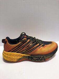Hoka One One Men's Speedgoat 4, Running Shoes-Yellow/Burnt Orange, Size 9.5M.