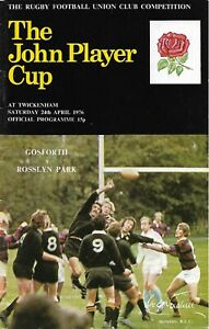 GOSFORTH v ROSSLYN PARK RUGBY UNION JOHN PLAYER CUP FINAL PROGRAMME 24 APR 1976