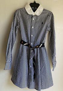 NWOT RALPH LAUREN Girls White/Black Belted Striped Shirt Dress  sz 7