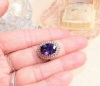 6.50Ct Oval Cut Amethyst Diamond Cocktail Engagement Ring 14K Yellow Gold Finish