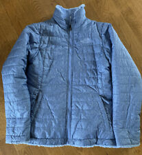 The North Face, Girls Reversible Mossbud Puffer Jacket, Light Blue, LARGE 14/16