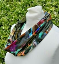 Snood/cowl Scarf in viscose jersey abstract multi khaki yellow green purple blue