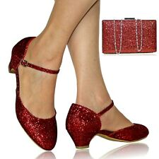 Womens Ladies Evening Bridal Low Block Heel Dress Shoes Pumps + Matching Bag 665