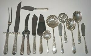 13Pc US Sterling Silver Mixed Serving Lot Old Maryland Engraved Kirk (MeG)#16