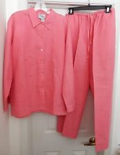 LILLY PULITZER Women's Linen Pant Suit 2 Piece Separates Shirt Jacket Pink M