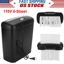 Electric Paper Shredder Destroy 6 Sheet Home Office Strip Cut With Credit Card Usa