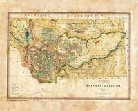 """Montana Territory 1883"" Lisa Middleton Artistically Enhanced Historical Map"