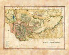 """Montana Territory 1883"" Lisa Middleton Artistically Enhanced Historical Map"