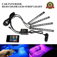 4X 12V Car Interior RGB 7 Color 9 LED Strip Light Atmosphere Neon Mood Lighting