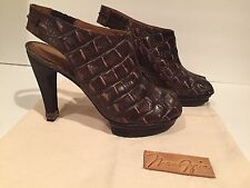Max Azria Sandals Open Toe Croc Leather Slingbacks Distressed Brown 37.5/7-7.5