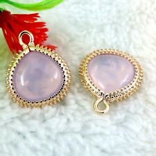 39146 Pink Tone Brass Crystal Glass Irregular Pendant Charm 19*15*6mm 6PCS