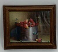 Donald F. Allan Strawberries And Tin Can Picture Wood Frame Signed Vintage MCM