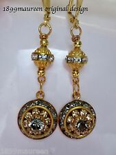 Art Deco Art Nouveau earrings black diamond crystal vintage drop 1920 Edwardian