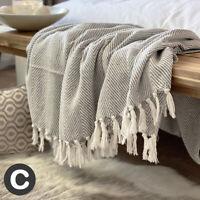 Luxury Large Dove Pale Grey Eco Cotton Herringbone Soft Bed Sofa Blanket Throw