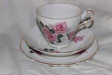 Vintage Regency Tea Cup Saucer Side Plate Trio Pink Roses