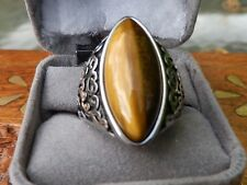 Tiger's Eye Stainless Steel Mens Ring Size 9.5