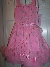 NWT Girls PERFECT ANGEL 1204 Pageant Dance Dress Gown Hot Pink Fushia 6T