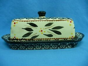 Temp-Tations Ovenware Covered Butter Dish Old World White With Black Design