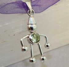 """Sterling Silver """"BEAD BABY CHARM"""" Peridot Green, Round Stone - Brand New"""