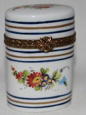 Large Vintage Limoges Hand Painted Floral Motif Porcelain Hinged Trinket Box