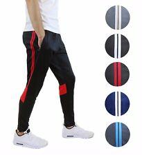 Mens Track Pants Joggers W/ Contrast Stripes Design Slim Fit Gym Sports Workout