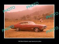 OLD LARGE HISTORIC PHOTO OF 1968 BUICK SKYLARK COUPE LAUNCH PRESS PHOTO