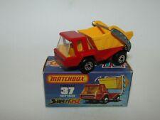 Matchbox Superfast No 37 Skip Truck Rare ORANGE Interior GREY BASE MIB