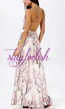 Backless White Floral Print Maxi Dress Long Sundress Spaghetti Strap Gown Blosso