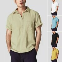 Men's Baggy Cotton Linen Short Sleeve Retro T Shirts Summer Tops Casual Blouses