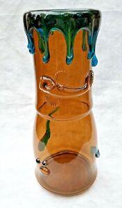 Large Antique Bohemian Czechoslovakia Harrach Glass Vase Applied Drips & Tadpole