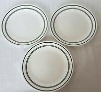 "THREE Corelle Classic Café Black Band Stripe Rim on White Dinner Plates 10-1/4"""