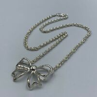 "Sterling Silver 925 Ribbon Bow Pendant & 18"" 3mm Trace Chain Necklace #818"